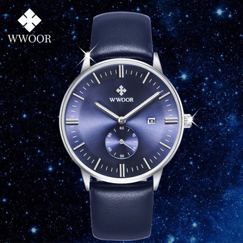 цены relojes hombre 2020 WWOOR Watches Mens Luxury Blue Leather Waterproof Wristwatch Men Fashion Business Quartz Watch Gift Box Male