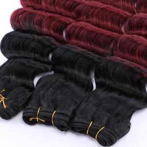 Image 5 - 12 20 אינץ שחור כדי בורדו עמוק גל שיער weave חום עמיד סינטטי שיער הרחבות