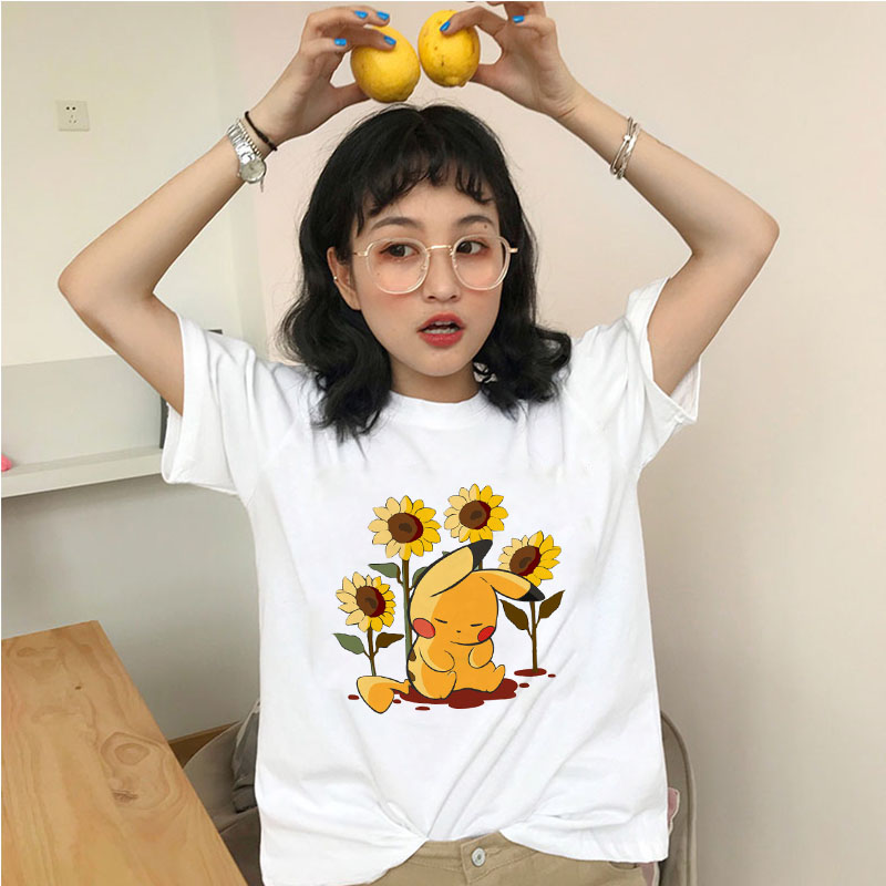 showtly-2020-cute-new-cartoon-font-b-pokemon-b-font-printed-t-shirt-women-casual-short-sleeve-tshirt-female-funny-pikachu-design-t-shirt