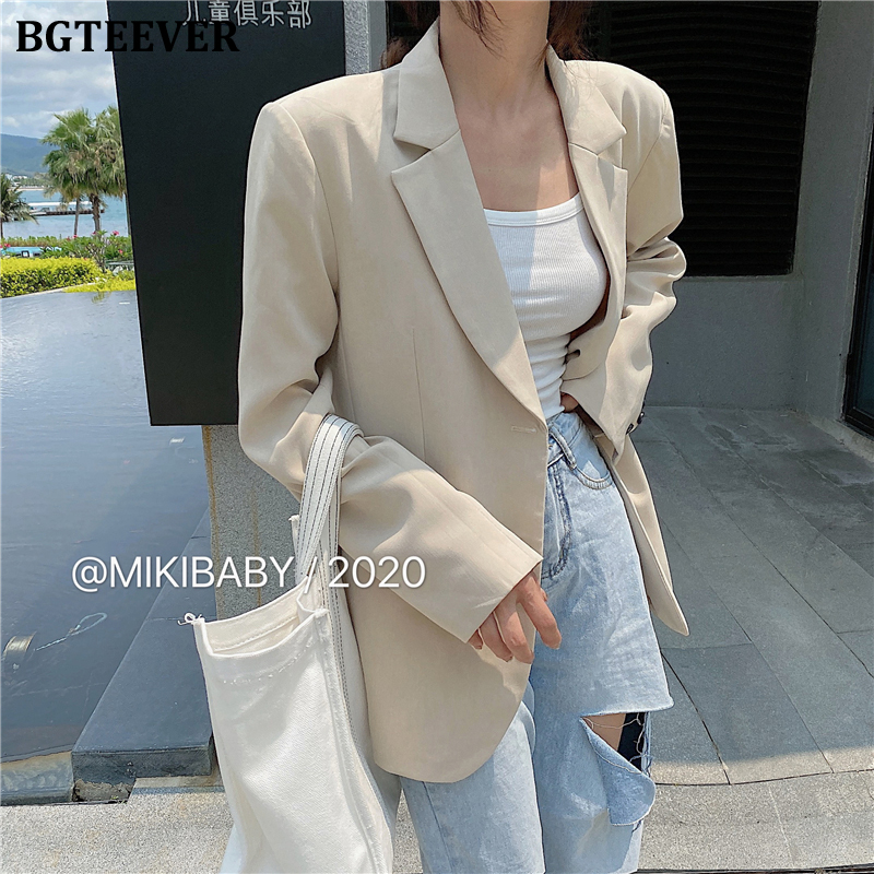 BGTEEVER Casual Single-breasted Women Blazers Notched Collar Full Sleeve Loose Jacket Female 2020 Spring Summer Basic Outwear