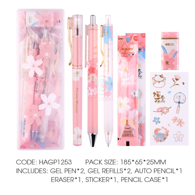 M G Kawaii 8pcs Lot Cherry Blossom Stationery Set Include Pp Box Gel Pen Pencil Eraser Refill Cute Gift Stationary School Set Stationery Set Aliexpress