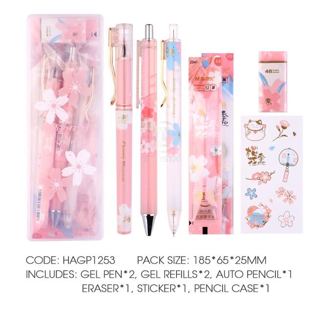 M G Kawaii 8pcs Lot Cherry Blossom Stationery Set Include Pp Box Gel Pen Pencil Eraser Refill Cute Gift Stationary School Set Stationery Set Aliexpress