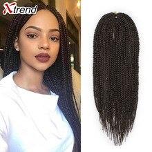 Xtrend, 14-22 дюйма, 22 пряди/упаковка, синтетическая коробка, косички, вязанные крючком, косички, волосы для африканских женщин, цвет Омбре, черный, коричневый