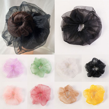 France Style Oversize Transparent Organza Hair Scrunchies Women Fashion Mesh Hair Rope Ponytail Hair Accessories Headdress image