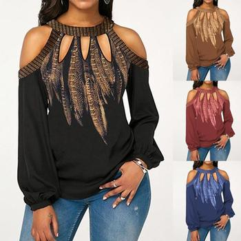Sexy Women Floral Print Long Sleeve Cold Shoulder Hollow Out Pullover Blouse Top