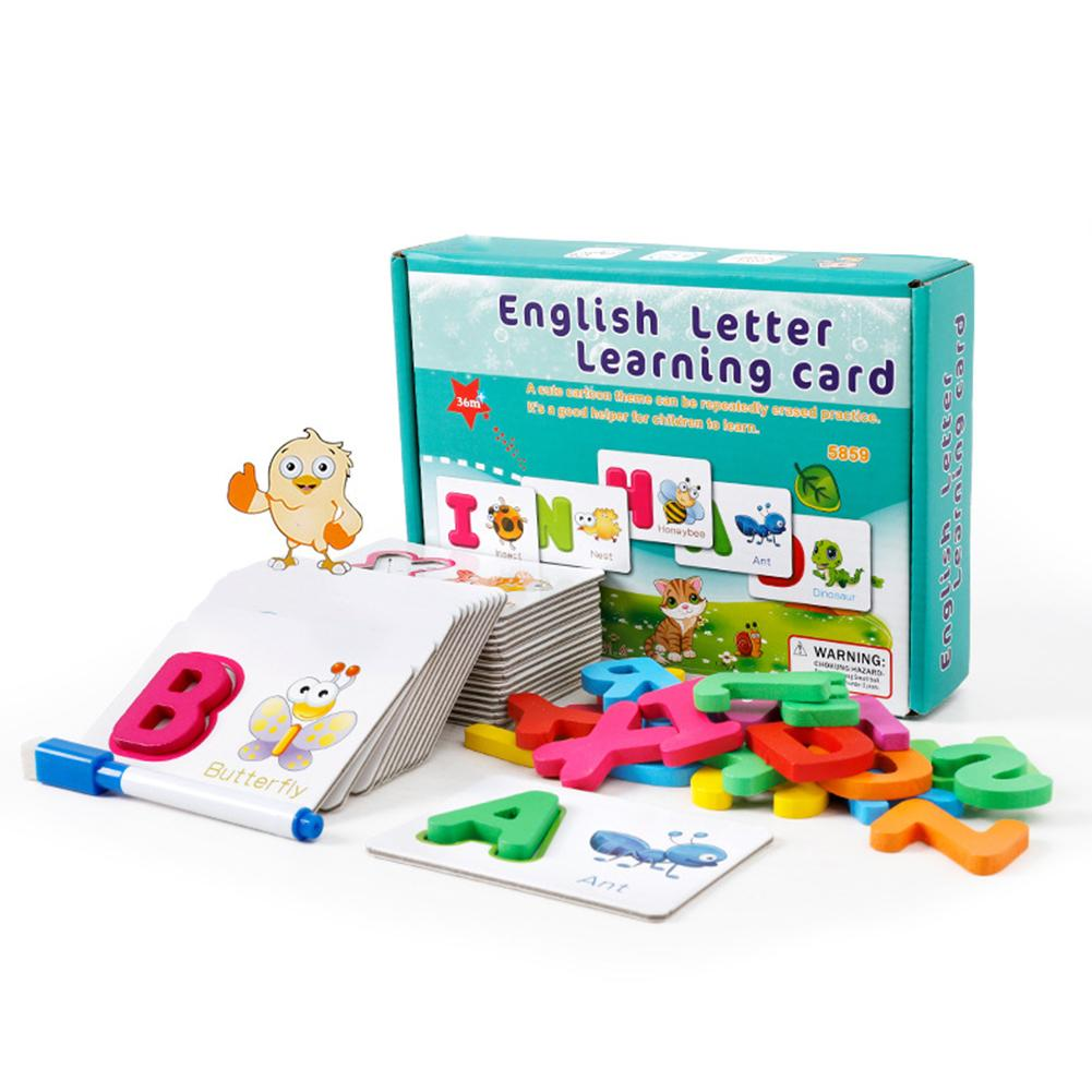 Wooden English Alphabet Puzzle Flash Paper Cards With Pen Education Kids Toy