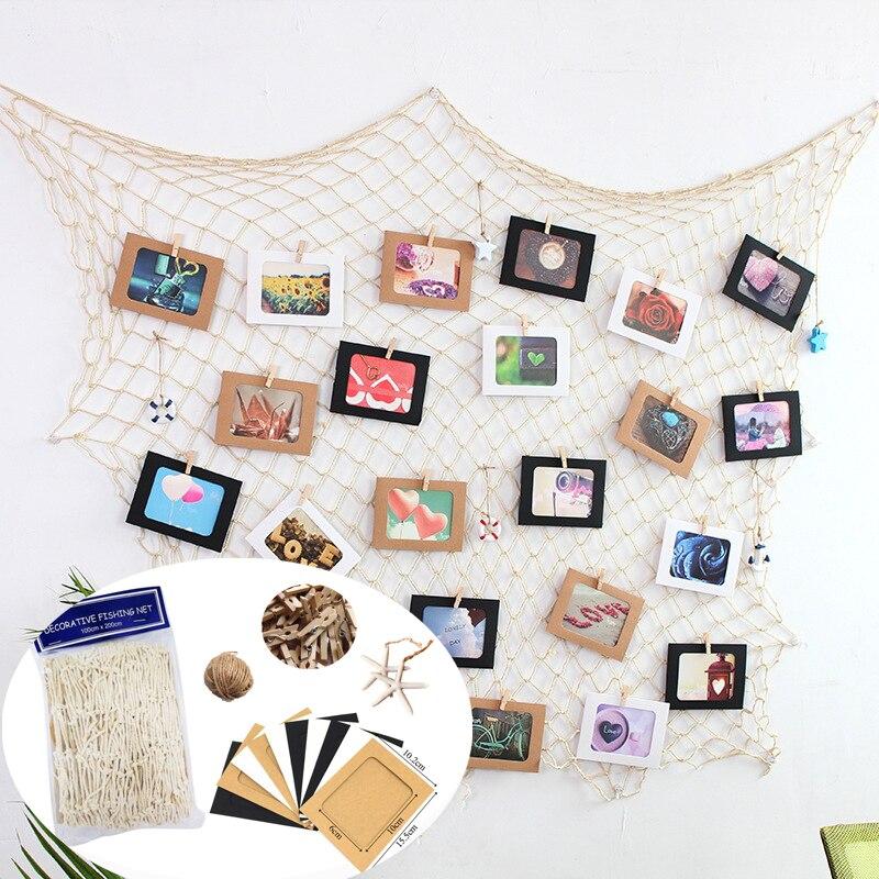 Креативная фоторамка для рукоделия, домашний декор для стен, набор рыболовных сетей, дизайн, изображение, висячий дисплей с зажимом, веревка...
