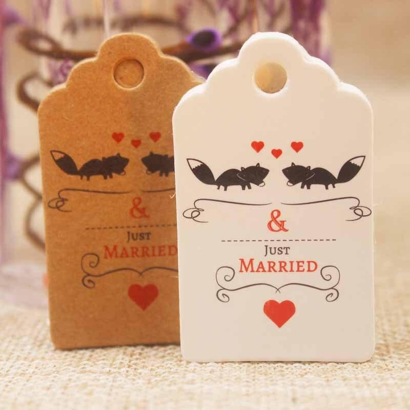 En gros 1000pc5*3cm bricolage pétoncles étiquette de mariage artisanat Vintage saint valentin décoration étiquette cadeaux étiquette w/coeur rouge bijoux carte étiquette