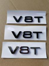 1X krom parlak mat siyah ABS V8T araç gövde arka çamurluk gövde amblem Badge Sticker için Audi aksesuarları