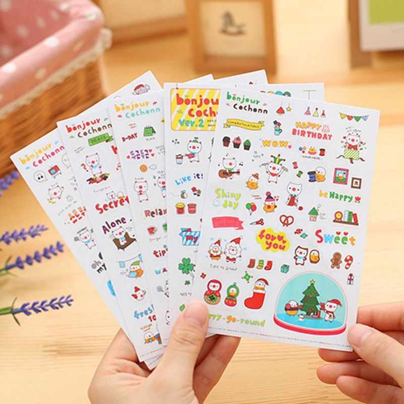 קריקטורה ברור מדבקות אוסף עמיד למים ילדה ספר מדבקת מחברת מקרר סקייטבורד צבע יומן מדבקת צעצועים-TZ056