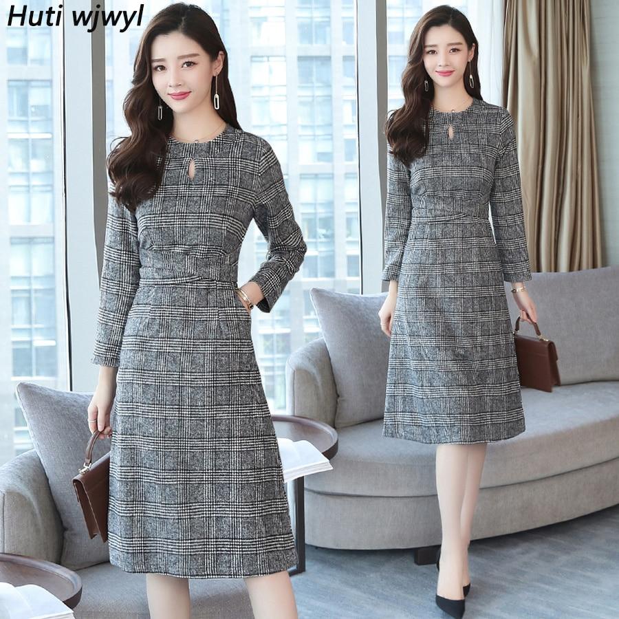 2019 Vintage Plaid Hairy Midi Dresses Autumn Winter 2XL Plus Size Solid Long Sleeve Dress Elegant Women Bodycon Party Vestidos