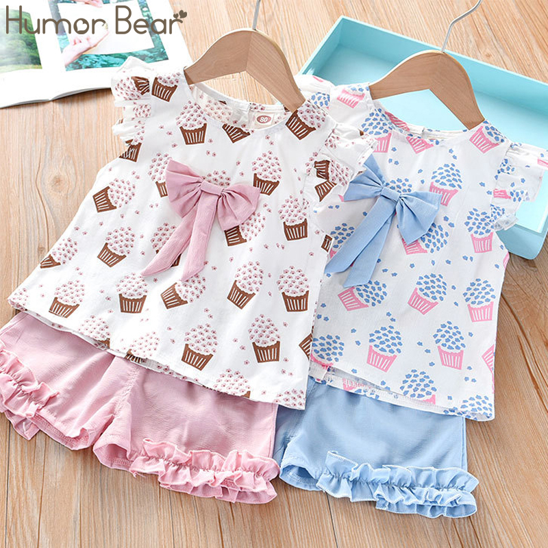 Humor Bear Girls Clothing Set 2020 Korean Summer New Ice Cream Bow Top T-shirt+Pants Kids Suit Toddler Baby Children's Clothes 3