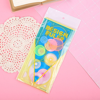 Multifunctional Kaleidoscope Variety Painting Board Ruler Kindergarten Student Rulers Stationery Curved Drawing Ruler @M23 1sets magic turtle rabbit sketchpad ruler educational drawing board variety puzzle million flowers multifunctional ruler