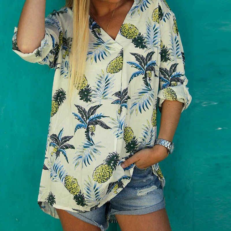 Donne di arrivo Ananas Tropicale Stampato Top Tee Shirt Signore di Estate Scollo A V casual Manica Lunga Vacanza Al Mare Magliette e camicette