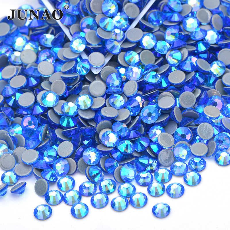 Junao SS6 8 10 12 16 20 30 Hyacinth Ab Hotfix Ijzer Op Strass Glas Hot Fix Kristal Strass Plaksteen ronde Glazen Stenen Ambachten