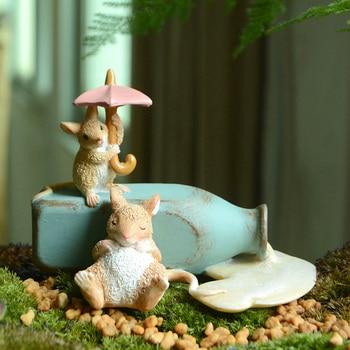 Everyday collection New mini mouse Figurine balcony Garden decoration animal decoracion hogar moderno