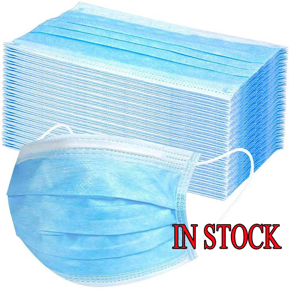 Masks Meltblown Cloth Earloop Anti Dust Disposable 10pc 20pc Maska 3 Layers Non Woven Protection Soft Mouth Face Mask For Adult