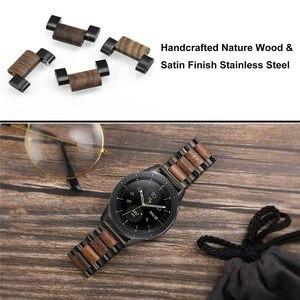 Image 4 - טבעי עץ & נירוסטה רצועת השעון + קישור מסיר לסמסונג גלקסי שעון 42mm 46mm SM R810/R800 שחרור מהיר רצועה בנד