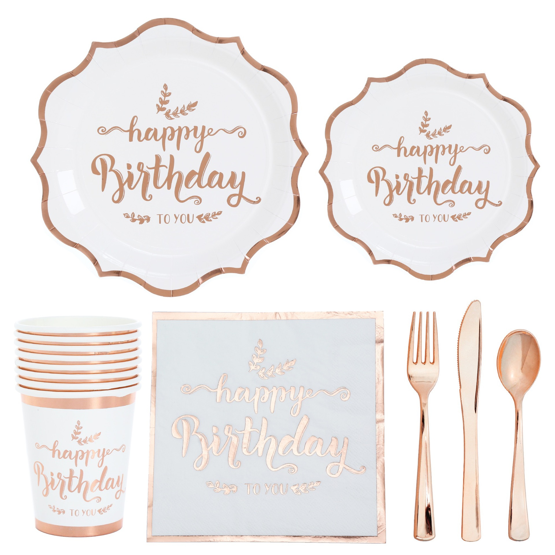 Bronzing Rose Gold Party Disposable Tableware Set Happy Birthday Decoration Cups Plates Straws Adult Kid Birthday Party Supplies