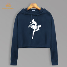 Ballet danseur rêve sweats à capuche automne 2020 nouveau Style court sweat-shirts recadrés Kawaii sweat à capuche court mode femmes haut court pollover(China)