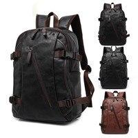 Fashion Men Backpacks Leather Laptop Bags Outdoor Travel Satchel Retro Sports Packsack Black Durable Bookbag Male Mochila