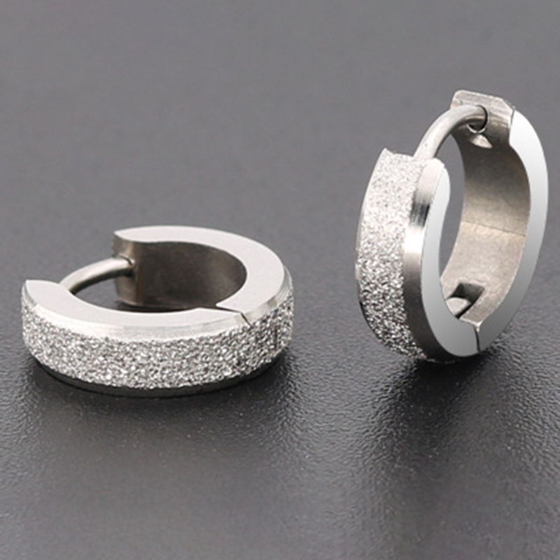 1 Pair Stainless Steel Simple Earrings For Women Men Round Circle Earrings Hoops Ear Bone Buckle Hoop