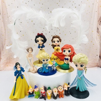 Disney Frozen Elsa Anna Aurora Princess Action Figures PVC Anime Model Dolls Cake Decoration Ornaments Kids Toy Christmas Gifts image