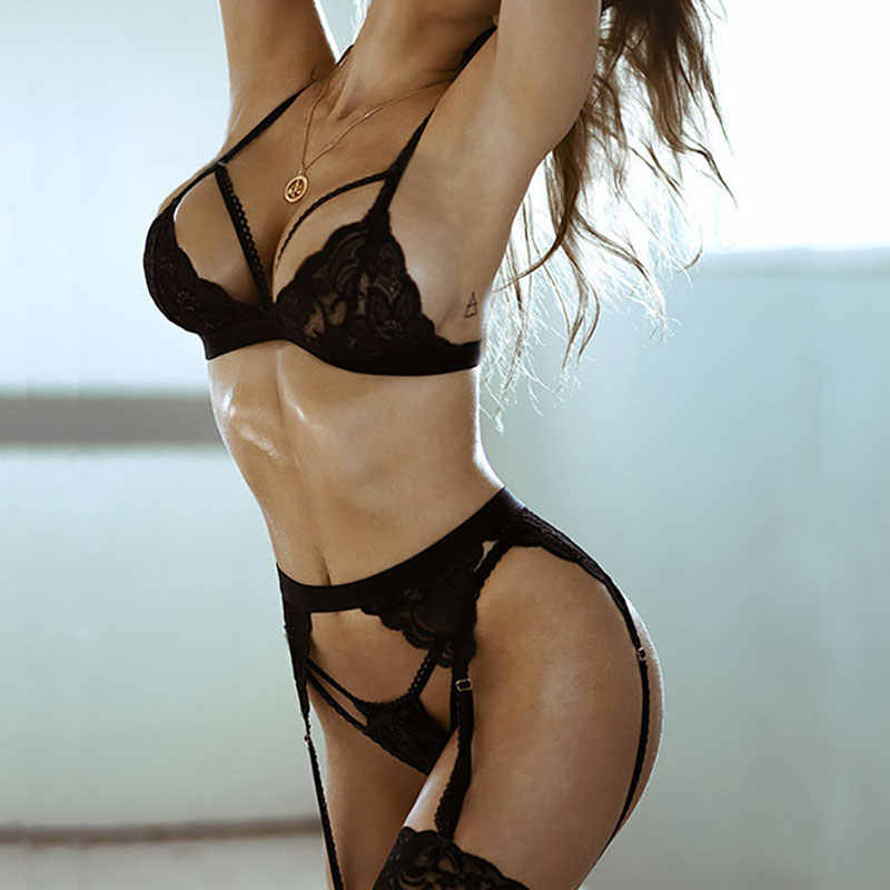 Hot 3 Pcs Vrouwen Sexy Kant Babydoll Open Bh Set G-string Push Up Ondergoed Nachtkleding Bh Korte Kousenband Set Intimates lingerie Pak