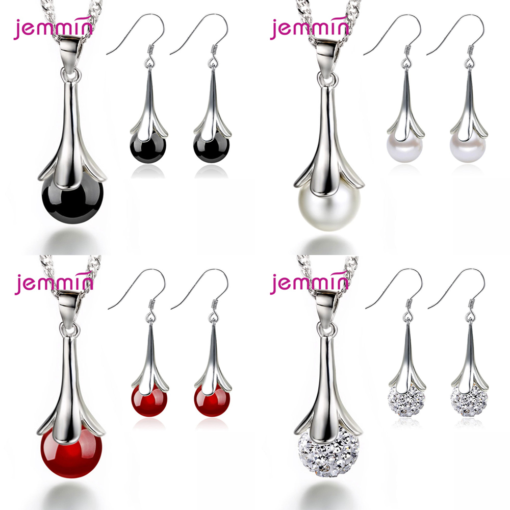 Fashion Jewelry Set For Women Lucky Leaf Design Pendant Necklace Hoop Earrings 925 Sterling Silver CZ Crystal Female Party