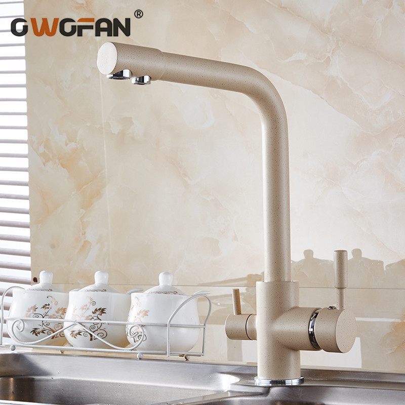Kitchen Faucets Antique 3 Way Water Filter Taps Dual Handle Chrome Brass Crane High Arch Swivel Purifier Filtration Tap HJ-0175