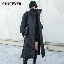 Chicever черное хлопковое пальто для женщин с отворотом длинным