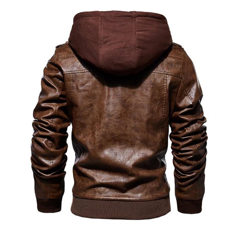 Image 3 - Новая осенне зимняя мужская кожаная мотоциклетная куртка с капюшоном теплая бейсбольная куртка из искусственной кожи большой размер M 4XL мужская кожаная куртка-in Пальто из искусственной кожи from Мужская одежда