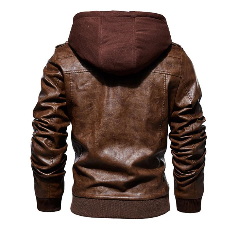 Image 3 - New autumn winter men's leather motorcycle jacket PU hooded jacket warm PU baseball jacket Large size M 4XL-in Faux Leather Coats from Men's Clothing