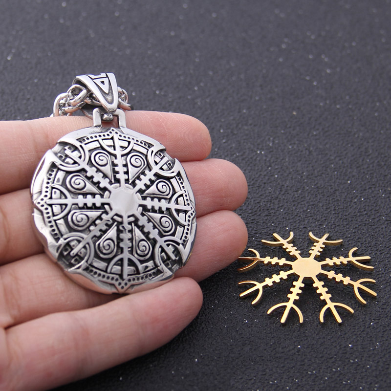 Yage stainless steel Viking Silver and Gold Rune pendant necklace viking scandinavian norse viking necklace Men gift