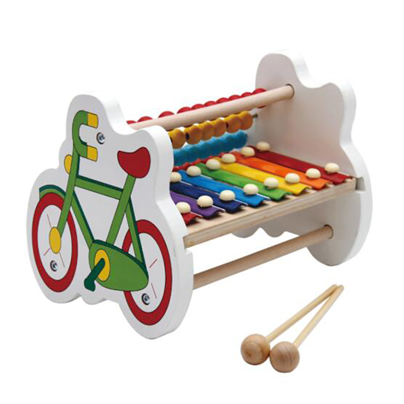 Children\'S Educational Wooden Toys Bicycle Beads Octave Knocking Piano Hand Knocking Xylophone Preschool Computing Rack