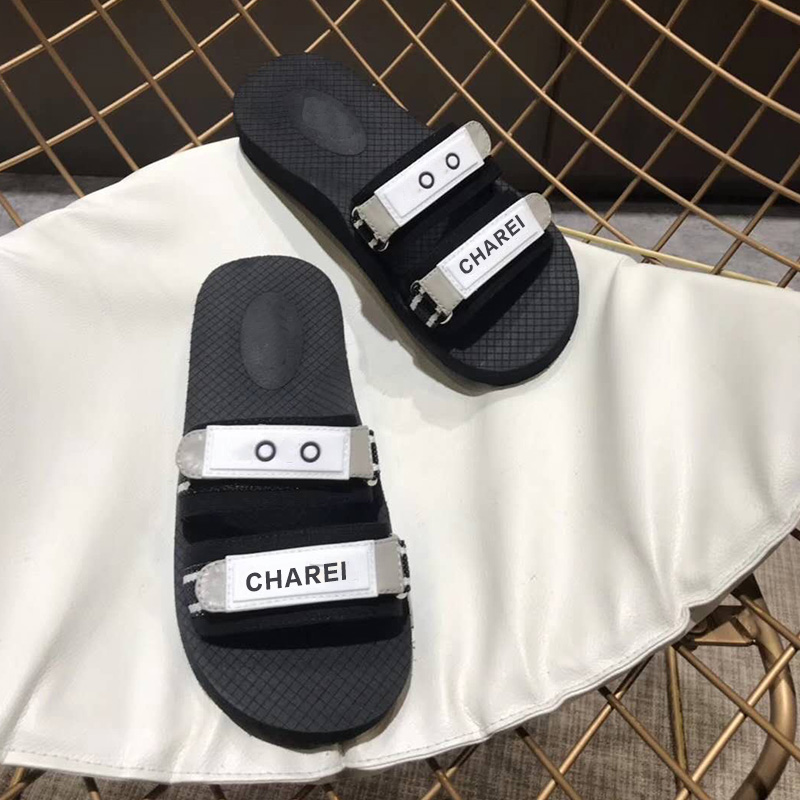 CHAREI Counter Flat Bottom Slippers Full Of Personality 2020  Summer New The Same Women's Shoes For Big Stars High Quality