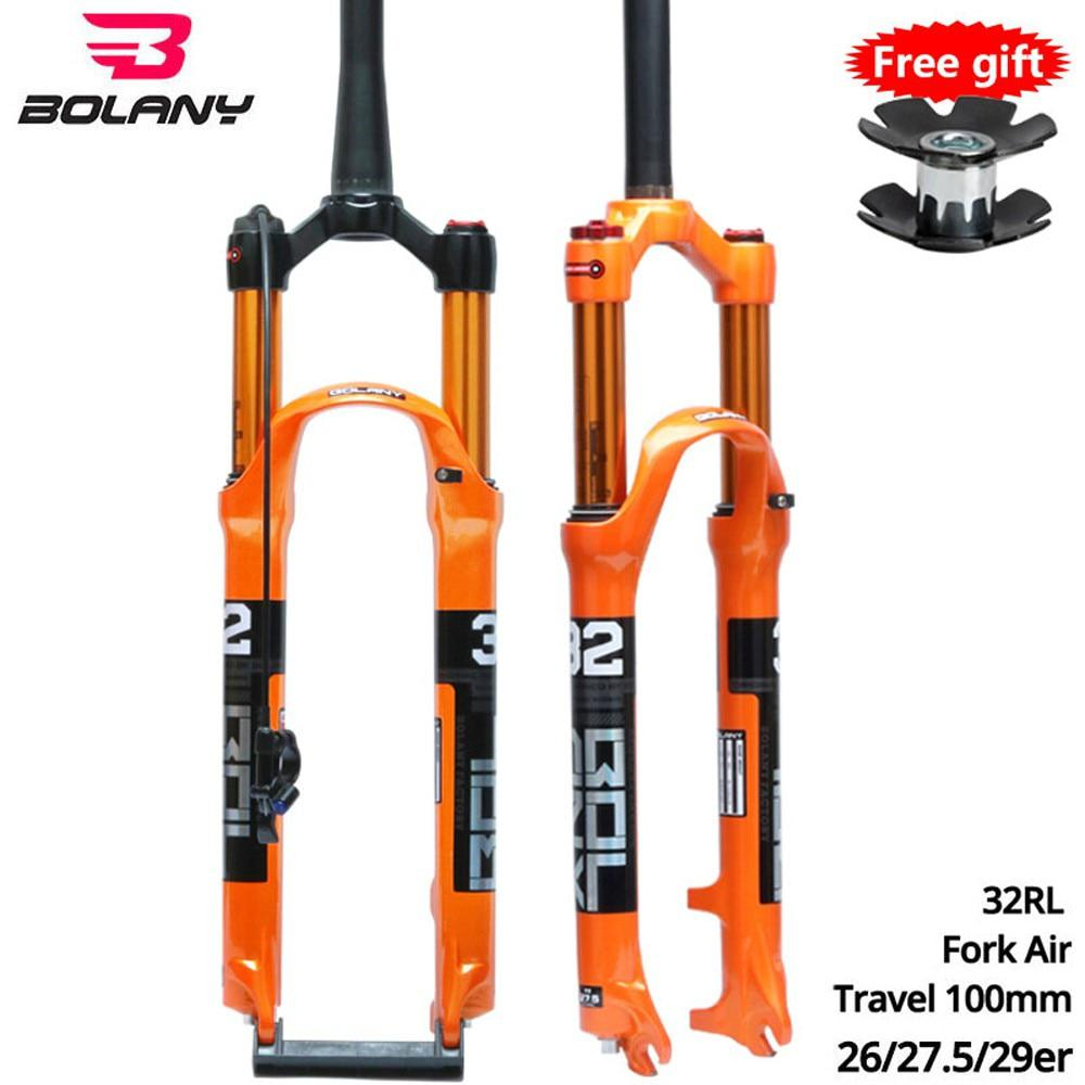 Bicycle Fork Air Resilience <font><b>Suspension</b></font> Front Fork On For <font><b>MTB</b></font> Road Bike Fork 26 <font><b>27.5</b></font> 29er 32 LO RL 100mm Disc Brake Lockout Fork image