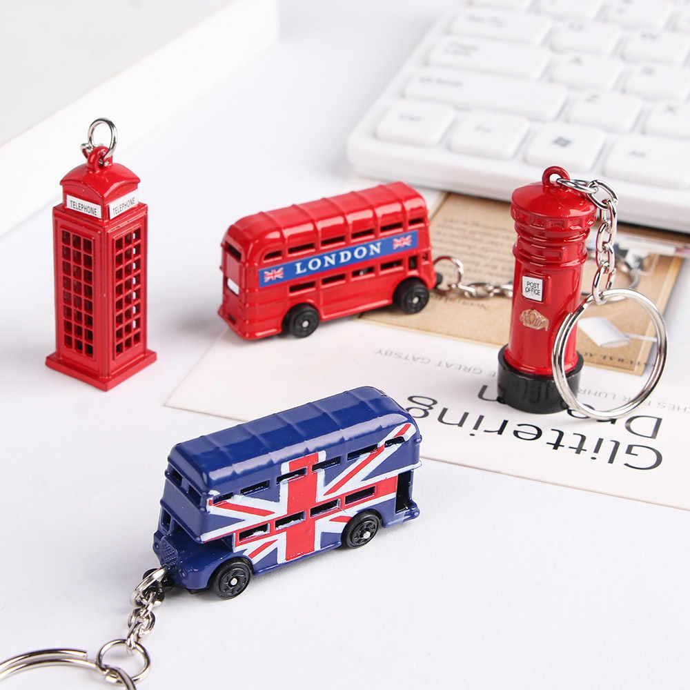 Londra kırmızı ve mavi otobüs anahtar organizatör posta kutusu anahtarlık anahtar kolye anahtarlık hatıra hediyeler için erkekler anahtarlık anahtarlık anahtarlık