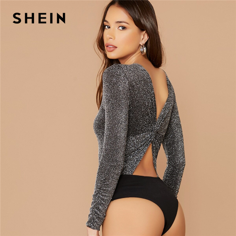 SHEIN Grey Cutout Twist Back Glitter Glamorous Bodysuit Women Spring Mid Waist O-neck Long Sleeve Sexy Skinny Bodysuits