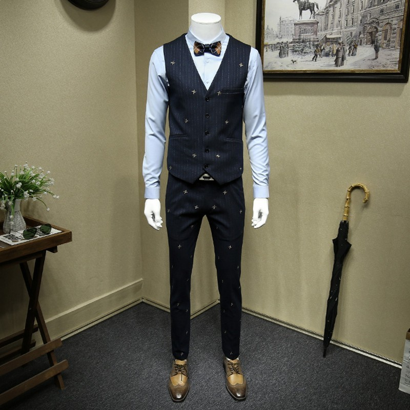 High Quality Personlity Embroidery Host Gown Dress Striped Mens Suits Slim Fit Formal Wedding Dress Business Three Piece Sets