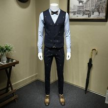 Hoge Kwaliteit Personlity Borduurwerk Host Gown Dress Gestreepte Mens Suits Slim Fit Formele Trouwjurk Business Driedelige Sets(China)