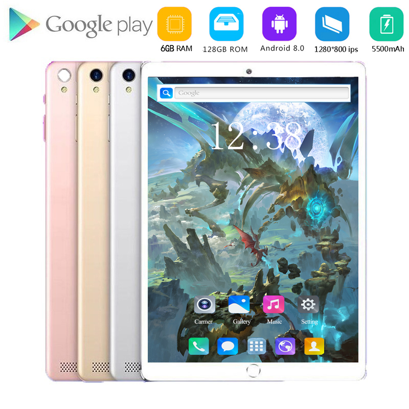 2020 New 10 Inch 4G Phone Call Tablet PC Octa Core Android 8.0 Tablets 6GB 128GB WiFi Bluetooth Dual SIM 1280x800 IPS HD Screen