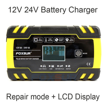 FOXSUR 12V 24V Motorcycle Golf Car Battery Charger Maintainer & Desulfator Smart Battery Charger, Pulse Repair Battery Charger image