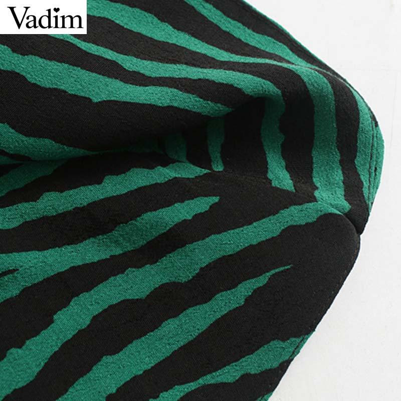 Image 5 - Vadim women chic zebra print mini dress V neck three quarter sleeve side zipper pleated animal pattern wild dresses QC895Dresses   -