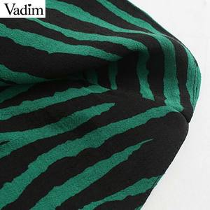 Image 5 - Vadim women chic zebra print mini dress V neck three quarter sleeve side zipper pleated animal pattern wild dresses QC895