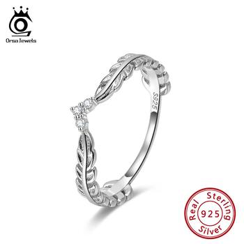ORSA JEWELS Vintage Design 925 Sterling Silver Feather Rings for Women Sterling-silver-jewelry Wedding Jewelry Gift SR121