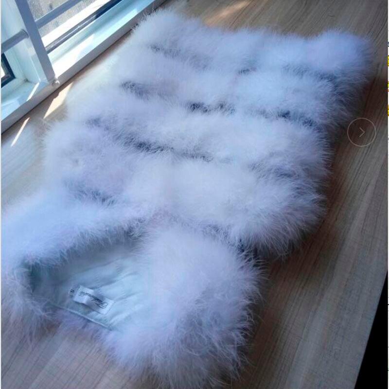 Новая мода женский зимний шифрование натуральные перья страуса индейка перо меховой жилет шуба горячая распродажа