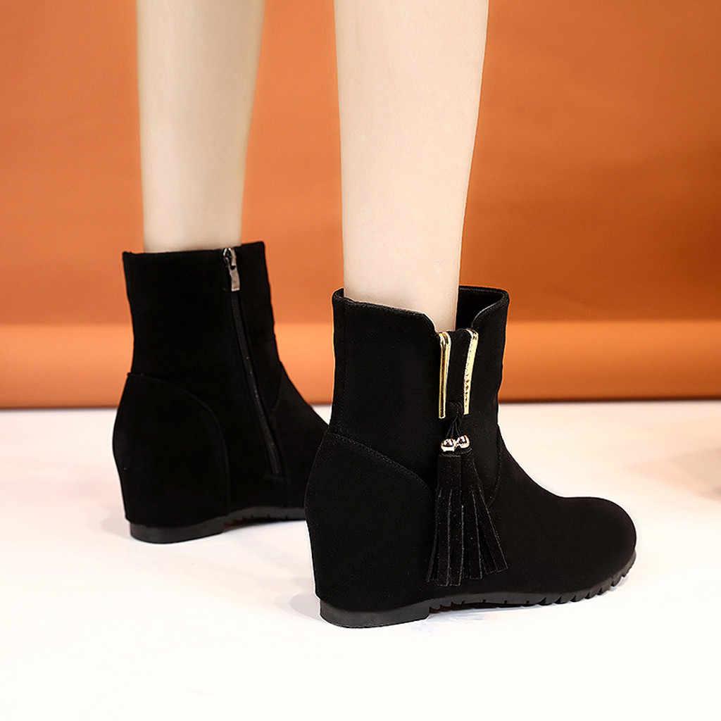 2019 sonbahar erken kış ayakkabı kadınlar kama topuk çizmeler artan tutmak sıcak bayan botları fermuar Metal kadın ayak bileği Botas siyah