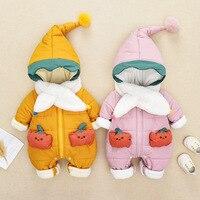 2pcs Set Down Jacket Scarf Pumpkin Winter Baby Clothes Girl Rompers Newborn Boys Jumpsuit Warm Hoodie Zipper Cap Russian Style