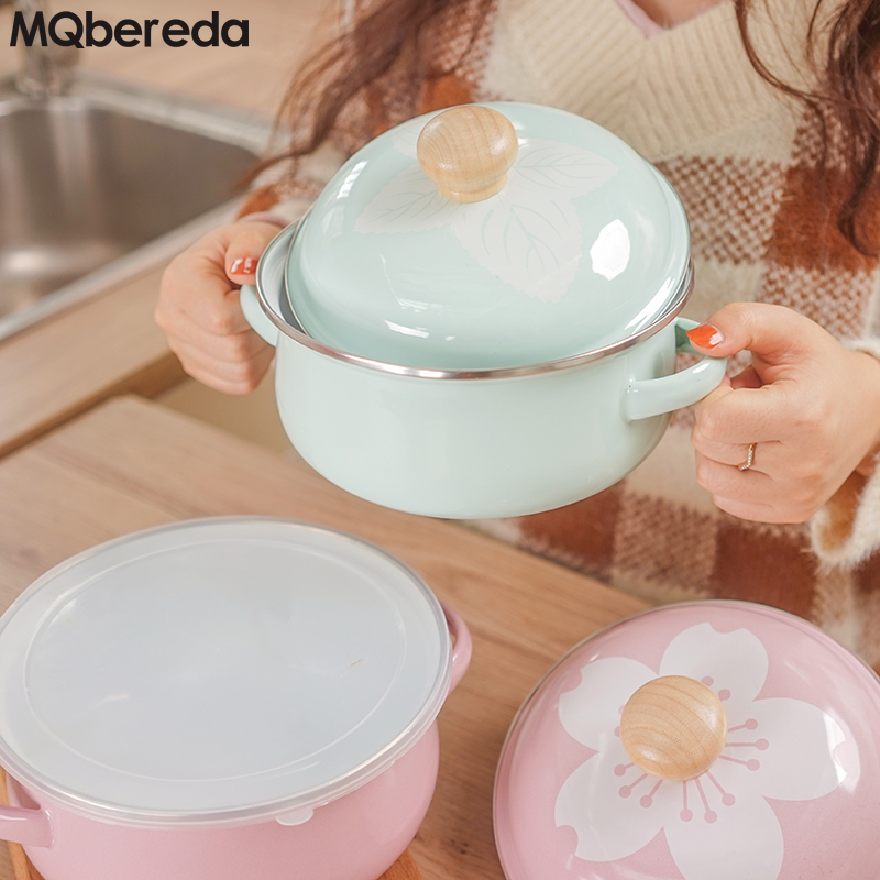 New 18cm Porcelain Enamel Soup Pot Hotpot Seal Salad Bowl Kitchen Pot Freshness Box Macarons INS-Style Tomato Stew Pot